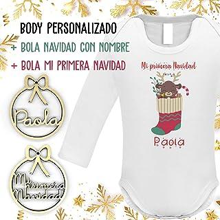 Pack regalo Mi primera Navidad Body bebé personalizado + 2 Bolas de Navidad personalizada con nombre, Regalo Recién Nacido...