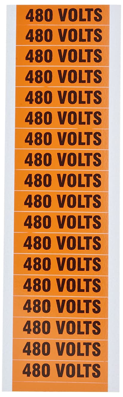 Morris Products 21374 Voltage Marker, 480V Legend (Pack of 5 Cards, with 18 Markers Per Card)