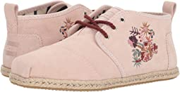 Medium Pink Floral Embroidery Suede Rope