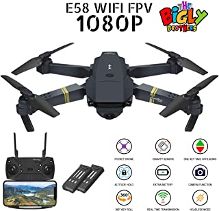 Bigly Brothers E58 S Edition Drone Upgraded with 1080P HD Camera 120° Wide-Angle Lens. Plus 1 Key 360 flip and 1 Key take Off/Landing functionality. Foldable Drone with Extra 3.7V 500mAh Lipo Battery