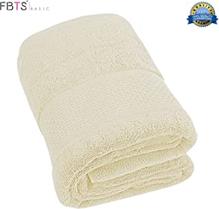 FBTS Basic Bath Towel (1-Pack, Beige, 31x59 Inches) Pure Cotton Luxury Highly Absorbent Extra Soft Professional Grade Five-Star Hotel Quality