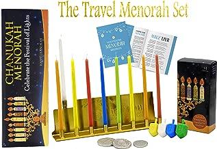 Travel Menorah Set - Lowest Priced Hanukkah Menorah - Includes Menorah, 44 Candles, 4 Dreidels, Chocolate Gelt