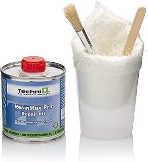 TechniQ ResinMax Pro Glasfaserharz Reparaturset, 0,25 m, Glasfasermatte, Mischbecher und Laminierbürste, 250 g