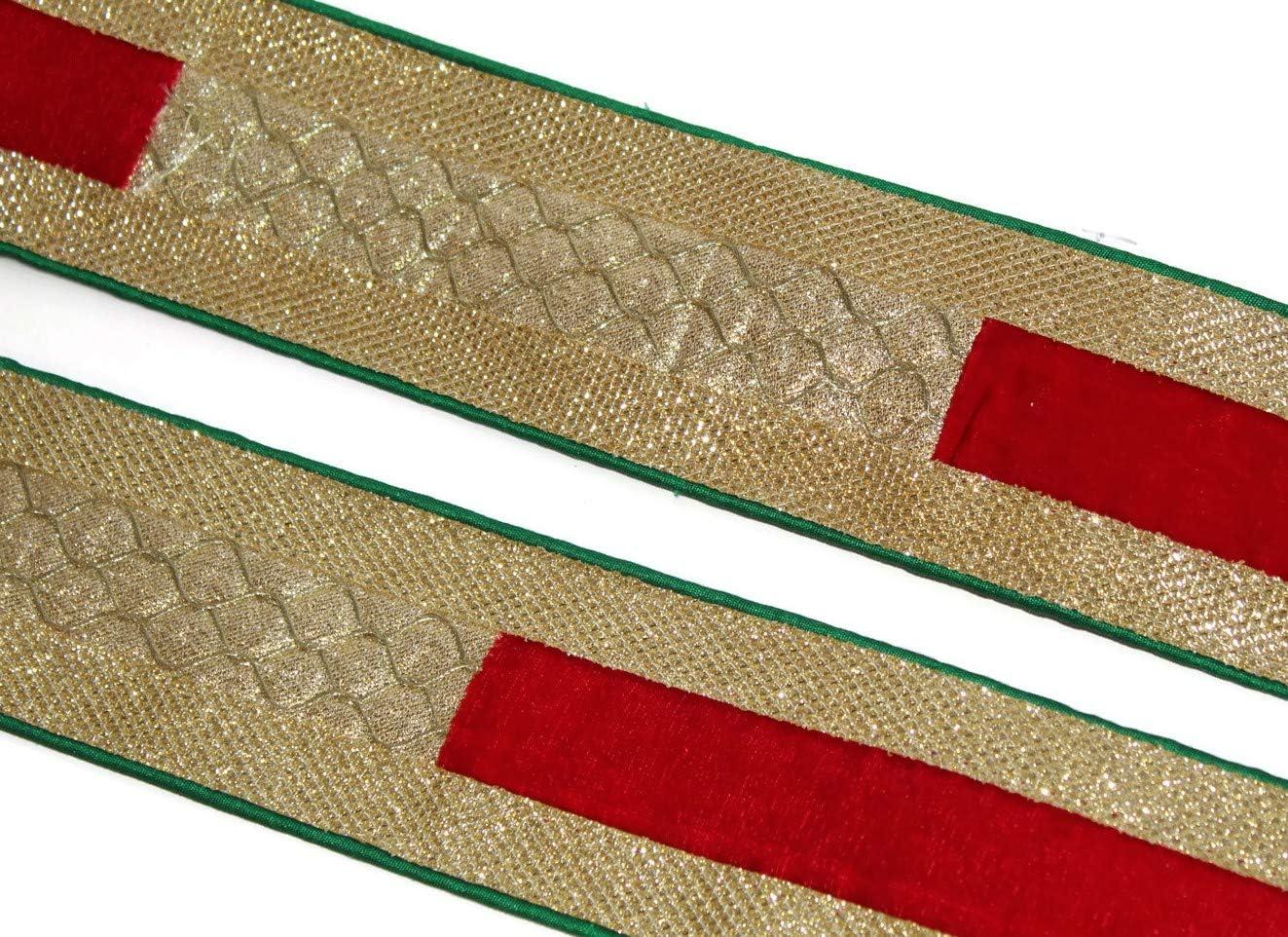 Idukaancrafts Be super welcome Golden Red Dress Border 09 2.5