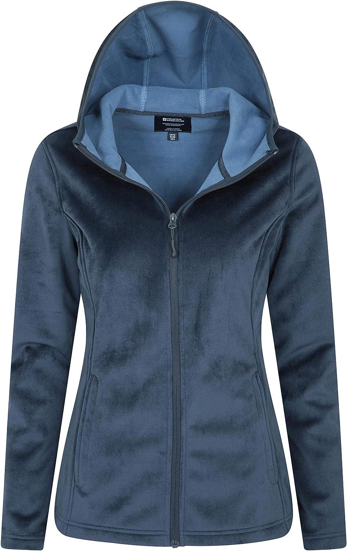 Full Zip Ladies Top Microfleece Sweater Best for Winter Side Pockets Bonded Fleece Mountain Warehouse Velour Womens Hooded Fleece