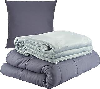 WIF7 Gewichtsdecke 135x200 cm schwere Bettdecke aus Baumwolle,Weighted Blanket beschwerte Decke Anti Stress 6,8 kg Therapiedecke mit Fleece Bezug Kuscheldecke Tagesdecke grau Winter Bettwäche Set