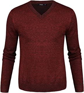 a05dc98556 iClosam Pull Homme col V Cardin Hommes Pull en Maille Pull en Coton  Classiques