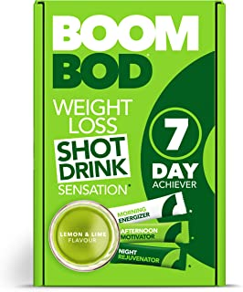 Boombod Weight Loss Shot Drink, Glucomannan, High Potency, Diet and Exercise Enhancement, Promote Fat Loss, Keto and Vegan Friendly, Sugar and Aspartame Free, Gluten-Free - Lemon Lime Flavor