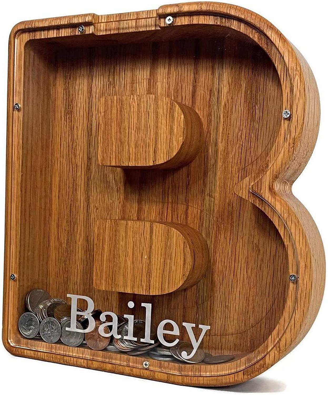 Oismys Personalized Letter Piggy Oak Opening large release sale Wood Wooden Bank Very popular!