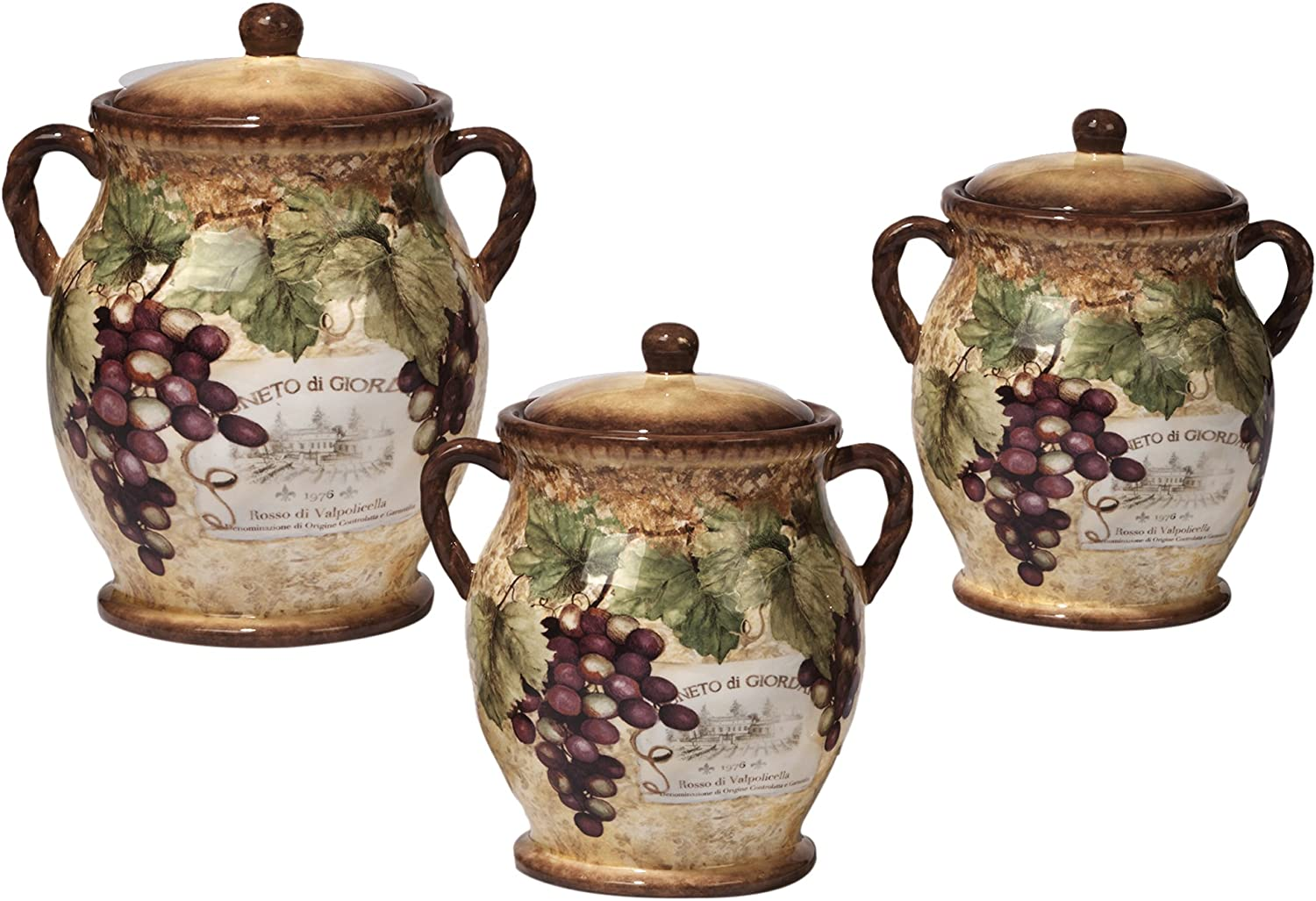 5 ☆ very popular Certified International 3 Piece Gilded Wine Super intense SALE Set Multic Canister