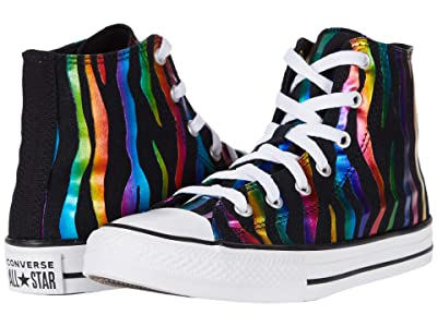 Converse Kids Chuck Taylor(r) All Star(r) Zebra Foil Hi (Little Kid/Big Kid) (Black/Black/White) Girl