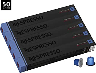 Nespresso Vivalto Lungo Decaffeinato OriginalLine Capsules, 50 Count Decaf Espresso Pods, Light Roast Intensity 4 Blend, Light Roast Colombian & Ethiopian Arabica Coffee Flavors