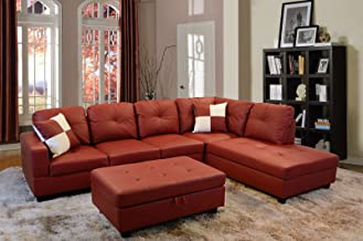 Best red faux leather sectional Reviews