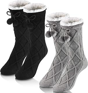 2 Pares Calcetines Zapatillas Calcetines Altos Borrosos de invierno de Mujeres de Forrado Lana con Pompón