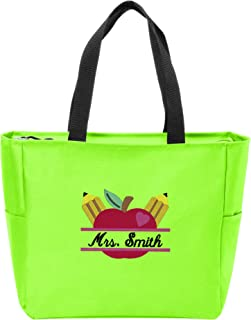 Personalized Canvas Tote Bag with Custom Text | Customizable Teacher's Apple Monogram Shoulder Bag for School Work Travel & Shopping (Neon Green)