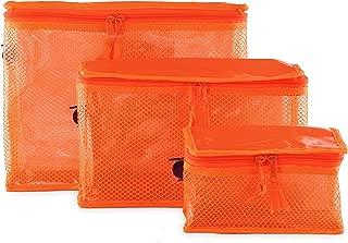 Containers By Aline- Set de 3 Cosmetiqueras transparente- Cosmetiqueras multiusos para medicinas, pañalera o maquillajes- Cosmetiqueras para viaje - Organizador de baño - Organizador de artículos de aseo personal - Cosmetiqueras para mujer - Neceser de Maquillaje - Color Naranja