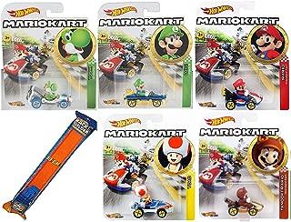 Hot Wheels Racoon Dog Kart Mario Character car Set Mariokart Bundle & Tanooki, Green Yoshi, Toad Sneeker, Luigi 8 and Mario Standard Cart + Race Straight Track 6 Items