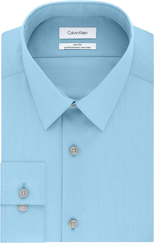 Calvin Klein Non Iron Herringbone Camisa de Vestir para Hombre