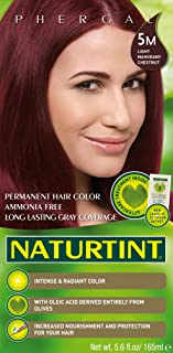 Naturtint Permanent Hair Color 5M Light Mahogany Chestnut (Pack of 1), Ammonia Free, Vegan, Cruelty Free, up to 100% Gray ...