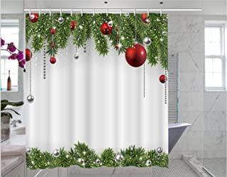 Christmas shower curtain Christmas print pattern bathroom decoration curtain 66 x 72 inches