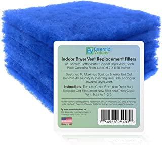 Essential Values 6 Pack Compatible Replacement Filters for Bettervent Indoor Dryer Vent
