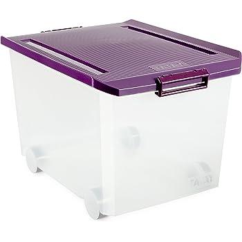 Tatay - Caja de Almacenaje Multiusos Bajo Cama con Tapa y Ruedas de 63 L de Capacidad.