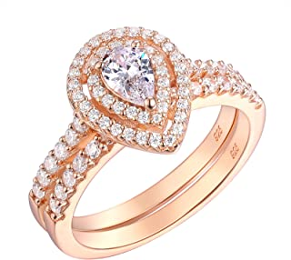 Wuziwen Pear Cut Cz Wedding Engagement Ring Set Sterling Silver Rose Gold Plated for Women Size 5-10
