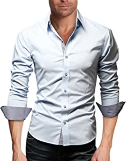 ZumZup 長袖シャツ ワイシャツ メンズ 形態安定 折り返し スリム シンプル ビジネス フォーマル ボタンダウン 通勤 折り襟 イケメン 大きいサイズ ホワイト M