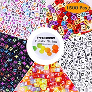 Letter Beads, Paxcoo 1500Pcs Alphabet Beads Kandi Letter Beads with Bead String for Bracelets and Jewelry Making