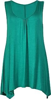 PurpleHanger Women's Scoop Neck Long Vest Tee Top Plus Size
