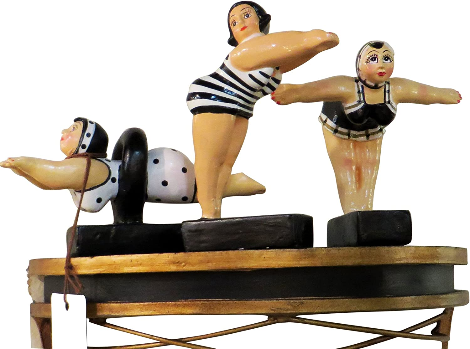 MY SWANKY HOME Whimsical Bathing Beauty Retro Swimmer Statue Set 3 | Vintage Swimsuit Woman Figurine