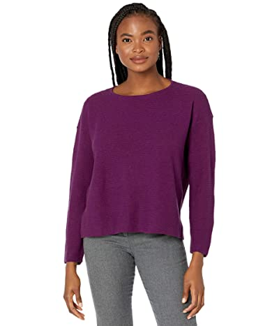 Eileen Fisher Organic Linen Cotton Crew Neck Box Top (Jam) Women