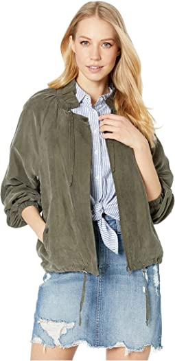Drawstring Cupro Soft Bomber Jacket