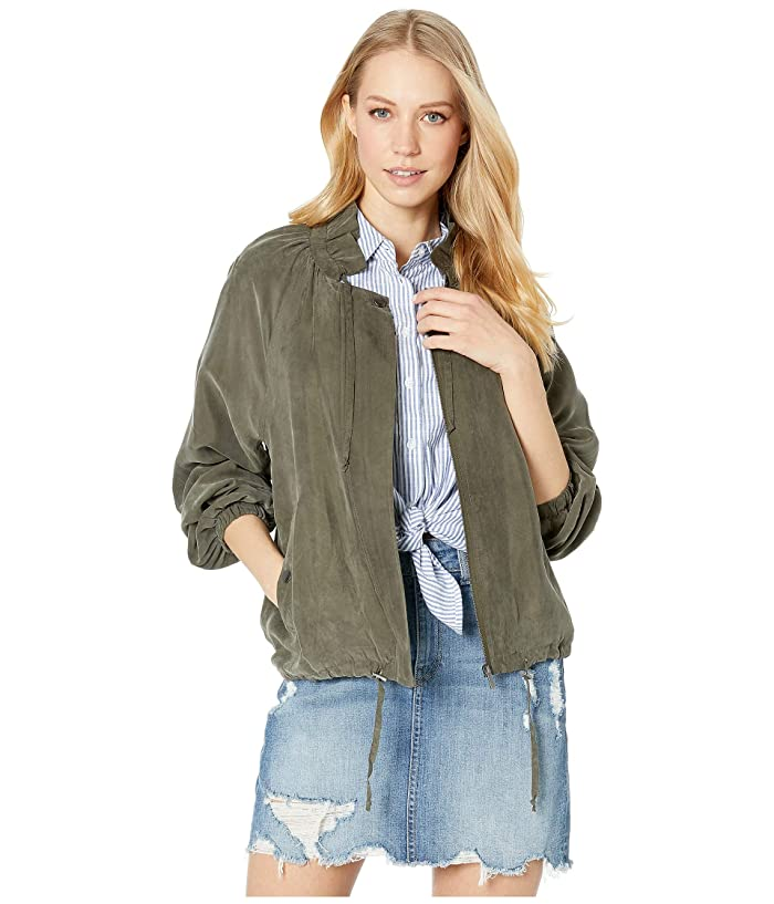 1.STATE Drawstring Cupro Soft Bomber Jacket (Olive Tree) Women