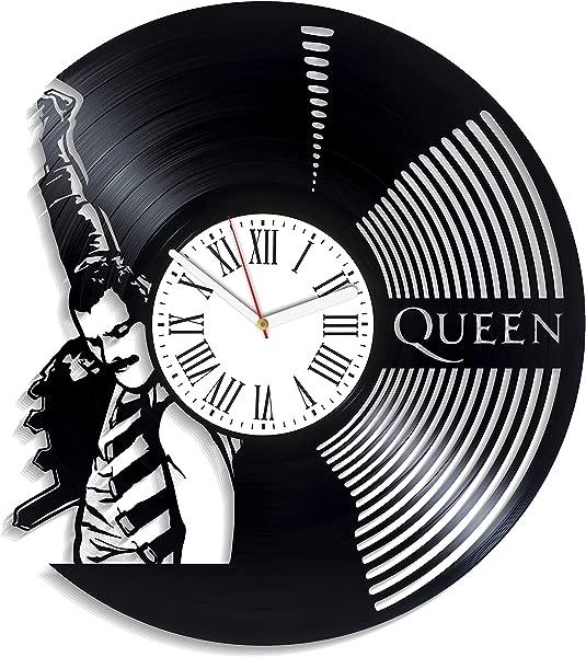 Kovides Show Must Go On Art Birthday Gift For Girl Home Decor Queen Vinyl Clock Vintage Vinyl Record Clock Freddie Mercury Wall Clock Minimalist Queen Music Decor For Living Room Rock Music Band