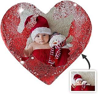 JIANG99 Almohada Fotográfica en Forma de Corazón con Lentejuelas Mágicas Reversibles Personalizadas para el Día de San Valentín y Regalos de Cumpleaños,Rojo de Doble Cara,40 * 40cm