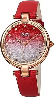 Burgi BUR225 Genuine Leather Women's Watch – Sparkling Ombre Glitter Dial with 12 Swarovski Crystal Markers, Polished Bezel, Precision Quartz
