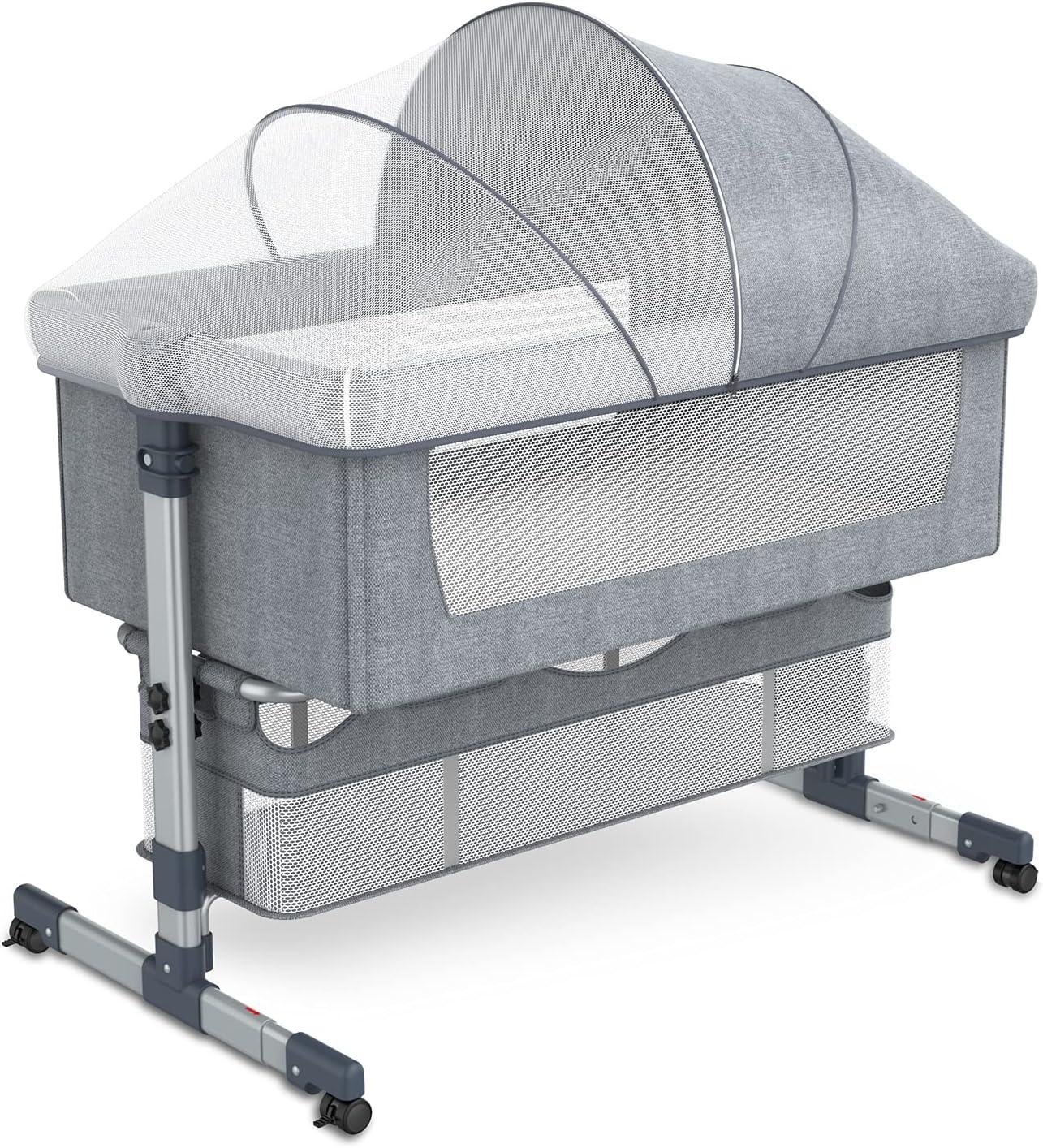 Baby Bedside Crib Bedside Sleeper, Adjustable Portable Travel Baby Crib Sleeper Bed Side Bassinet w/Carrying Bag, Portable Newborn Bassinet to Infant, Detachable Mattress, Height & Angle Adjustable