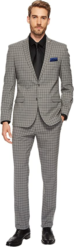 Grey Slim Fit Windowpane Suit