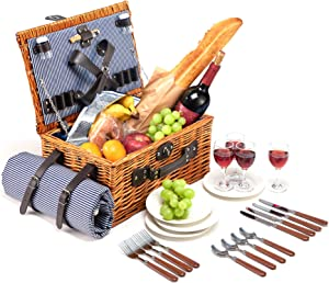 Picnic Basket Set for 4 Person with Food Cooler, Wicker Picnic Hamper with Blue Stripe Lining and Waterproof Picnic Blanket for Family Outdoor Camping Party