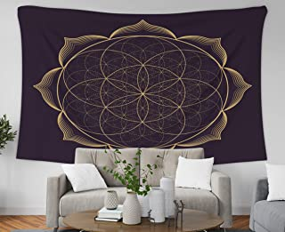 Asdecmoly Easter Printing Psychedelic Tapestry Wall Hanging Tapestries for Living Room and Bedroom 60 Lx60 W Inches Gold Monochrome Abstract Mandala Sacred Geometry Seed Flower Art Printing Inhouse