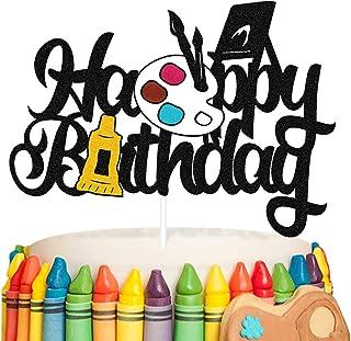 Painting Cake Topper Graffiti Drawing Art Artist Painter Brush Palette Themed Happy Birthday Cake Decoration for Girl Boy ...