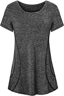 Cucuchy Womens Yoga Tops Flowy Fitness Workout Shirts Short Sleeve Activewear