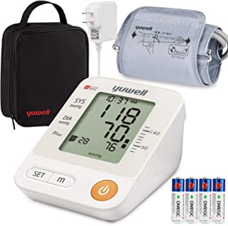 Blood Pressure Monitor Upper Arm Cuff, Yuwell Intelligent Large Display BP Monitoring Meter with Cuff 8.7'-17.7 and Portable Bag, Accurate Automatic Digital Machine for Home Use Pulse Rate Monitoring