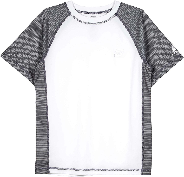LAGUNA Boys Striped Raglan Crewneck Short Sleeve Loose Fit Rashguard Swim Sun Tee Shirt, UPF 50+