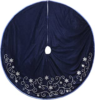 New Traditions Simplify Your Holiday 48 inch Velvet Tree Skirt with Sequined Vines and Taffeta Piping