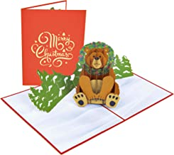 PopLife Holiday Bear Pop Up Christmas Card, Blank Merry Christmas Greeting, Grizzly Bear Card, Xmas GIft, New Years - Fold Flat for Mailing - For Grandkids, For Dad, For Grandpa, For Animal Lovers