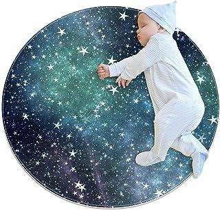Vacker stjärnhimmel, barn rund matta polyester överkast matta mjuk pedagogisk tvättbar matta barnkammare tipi tält lekmatta