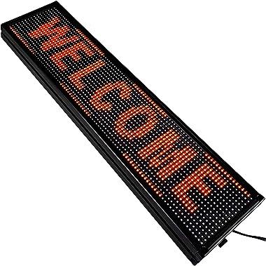 VEVOR Signe de Défilement LED Signe Rouge 10mm LED Signe Lumineux 101x20cm LED Panneau d'Affichage Numérique Scroll Progr