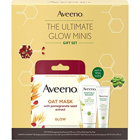 Aveeno Ultimate Glow Minis Skincare Gift Set, Brightening & Exfoliating Face Scrub, Facial Moisturizer with SPF 30 & Oat Mask with Pomegranate Seed Extract, Trial Sizes, 3 pcs